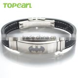 Topearl Jewelry 304 Stainless Steel Hot Jewelry Trends 2016 Black Rubber Batman Bracelet MEB233