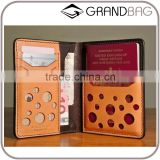 100% genuine vegetable tanned leather travel passport wallet for men wholesale custom passport holder with card slots