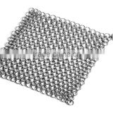 9in x9 in Cast Iron Cleaner Chainmail Scrubber, Stainless Steel Chainmail Cleaner
