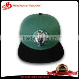 OEM Service Cartoon Figure Flat Embroidery Printed Square Brim Custom Cap And Hat 6 Panel Green Cap Snapback