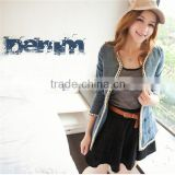 DJ217487 2014 jean jacket for women ladies denim jean jacket for woman with metal fashionable apparel in alibaba china