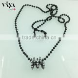 black plated stainless steel ball chain necklace women gift with 925 sterling silver pendant AAA grade white zircon stones