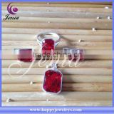 New model square AAA red zircon earring ,ring ,pendant set thai silver beads jewelry set ( 6342T7)