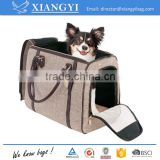 Portable washable pet carrier high end sleek dog and cat hand bag with pu details