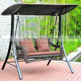 outdoor rattan swing chair with canopy double seat