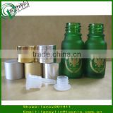 Stock!!!10ml green frosted e-liquid glass bottle with gold/silver aluminium screw cap and tip