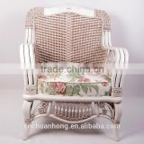 bamboo rattan sofa seat/Rural style white single seat/The cane makes up one-seat