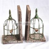 Antique decorative birdcage metal bookends