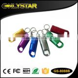 Onlystar GS-8088B promotion aluminum 6 led flashlight keychain bottle opener