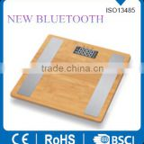 Latest Top Quality Smart Bluetooth nature bamboo Body Fat Analysis Scale 440lbs Capacity