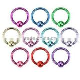 Neon Titanium Ball Captive Ring Circular CBR Ear Tragus Piercing Jewelry