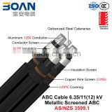 HV ABC Cable, Aerial Bundled Cable, Al/XLPE/CWS/HDPE+GSW, 3/C+1/C, 6.35/11 kv (AS/NZS 3599.1)