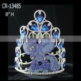 Beauty Custom Blue Sapphire Rhinestone Pony Crown