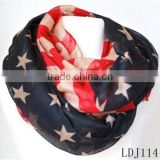 Red White And Blue American Flag Print Infinity Scarf Stars And Stripes