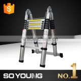 Made in Yongkang 3.8M/12.5ft Aluminum Extension Telescoping Ladder Heavy Duty Muliti Purpose Use A-type 330lbs