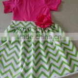 wholesale 2016 baby girls boutique summer cotton dress rose red top green stripe bottom dress
