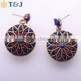 Vintage Elegant Gold Plated Simple Earring Beautiful Pattern Antique Women Bohemia Pendant Earring