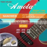 Amola ET100 010-046 Bright Tone Round Wound Ulra Thin Coating Nickel Plating Winding Electric Guitar Strings