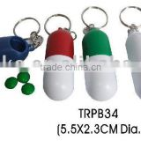 Capsule shape travel plastic pill case keychain