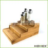 Bamboo expandable 4 step spice shelf/ spice rack Homex-BSCI