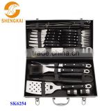 24pcs stainless steel hot sale bbq cutlery set in PP handle with alum case