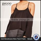 MGOO 2017 Chiffon Cold Shoulder Blouse Long Sleeves Shirts Blouses Polyester Spandex Black Loose Style