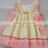 Boutique Toddler Girls ruffle Sleeve crown embroider Lace Dress Baby Fashion Dress for Fall
