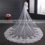 2017 wholesale new grance long lace bridal wedding veilwhite one-layer bell flower wedding lace veil Fashionable long Tulle HL26