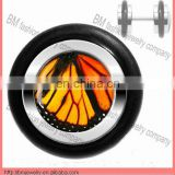 fake ear plug earrings body piercing jewelry with butterfly wing logo design