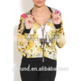 Multi Print Bomber Jacket/womens new jacket/clothing supplier china/wholesale lastest apparel model-cp354