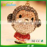 Little Cute Monkey Rhinestone Keychain