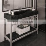 marble top vanity with metal shelf and support leg