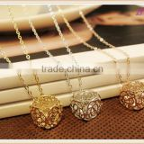 Gold Plated Flower Crystal Pendant Costume Long Necklaces Jewelry for Women
