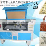 9060 small laser power 80w glass tube leather laser cutting machine for leather handbag/leather bag