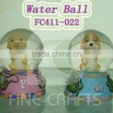 Polyresin dog statue water globe
