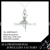 925 silver Fashion Kids chunky bubblegum necklace play fly dancing girls pendant setting cz stone pendant