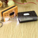 key chain Cute Biscuit Shaped keychins LED Light Flashlight Toy with Keychain