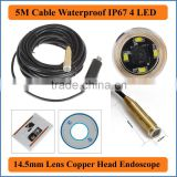 5M USB Cable Length Waterproof IP67 4 LEDs 14.5mm Lens Endoscope Inspection camera Copper head Borescope Microscope Loupe