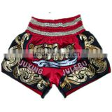 red black embroidery muay thai shorts,factory price thai boxing shorts,kick boxing shorts