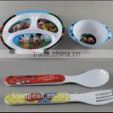 2016 Hot Sale Kids 3-Section Plate and Bowl Melamine Dinnerware with fork and spoon/Kids Plastic BPA Free Flatware Bowl Plates