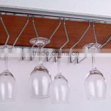 chrome metal ceiling hanging goblet rack