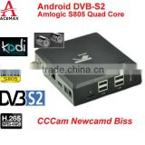 Acemax Amlogic S805 quad core DVB S2 fta satellite receiver iptv smart tv box support CCCAM, NEWCAMD, BISS