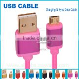 Genuine original fabric braided micro usb data charging cable with 24k gold plated for Samsung/HTC/Nokia/Blackberry