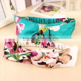 2016 Summer Bohemia Elastic Stretch Plain Hairbands Cute Flower Headband Hair Bands Turban For Women Headwear Accessories