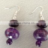 925 Sterling silver purple amethyst earring for women-dangle earring with facet roundel beads-solid silver earring hook