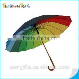 "23""*16K auto open Straight rainbow Umbrella with wooden shaft and handle"
