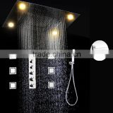 5 way led shower multi color change embeded ceiling waterfall shower faucet set with body spray jets