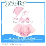 micro bikini Two pink swimsuit split cute Children's swimwear Pink girl kids bikini wave                                                                         Quality Choice