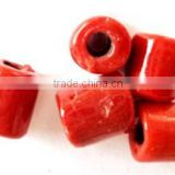 red colour tube shaped glass beads in assorted sizes for jewelry designers, bead stores