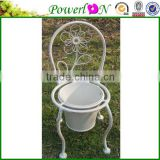 Discounted Vintage High Quality Antique Wrough Iron Chair Shape Plant Pot For Patio Backyard I22M TS05 X00 PL08-5642